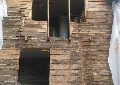 Isolering utsida vägg timmerhus Boden 4