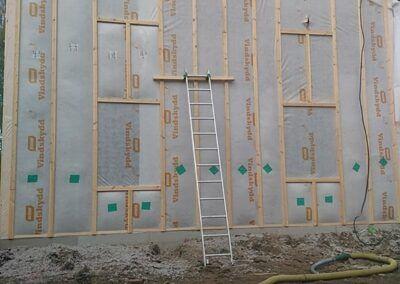 Isolering utsida vägg timmerhus Boden 5